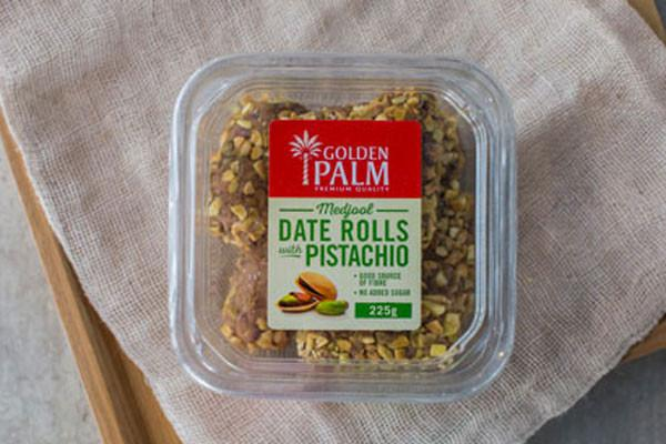 Golden Palm Date Rolls with Pistachio 225g Pantry > Dried Fruit & Nuts