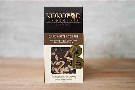 Kokopod Chocolate Butter Toffee with Almonds 52% Dark Chocolate 100g Pantry > Confectionery