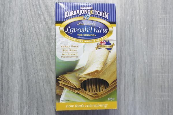 Kurrajong Kitchen Caramelized Onion & Sea Salt Lavosh Thins 125g Pantry > Biscuits, Crackers & Cripsbreads