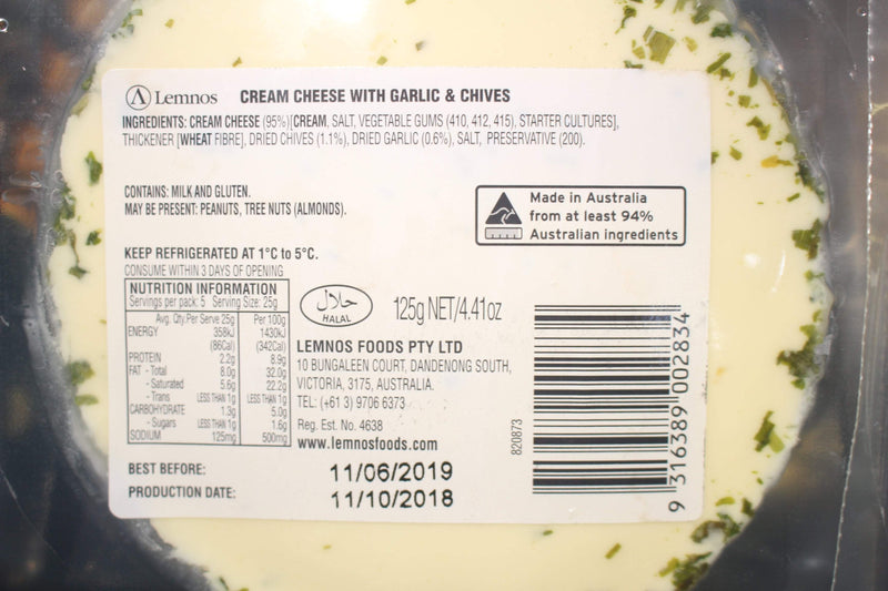 Lemnos Lemnos Cream Cheese Garlic Chive 125g Dairy & Eggs > Cheese