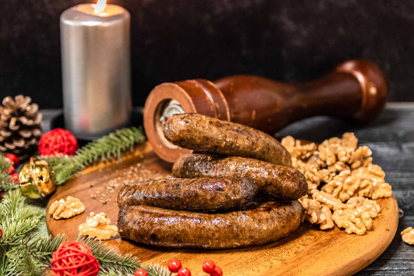 Little Farms Beef Mushroom Walnut and Thyme Sausage Pack of 4 (Raw) Meat > Beef