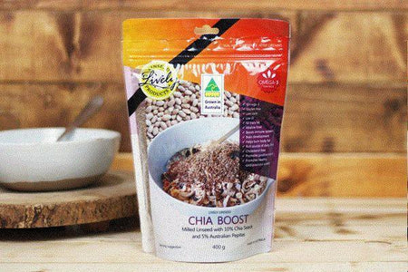 Lively Linseed Products Chia Boost 400g Pantry > Granola, Cereal, Oats & Bars