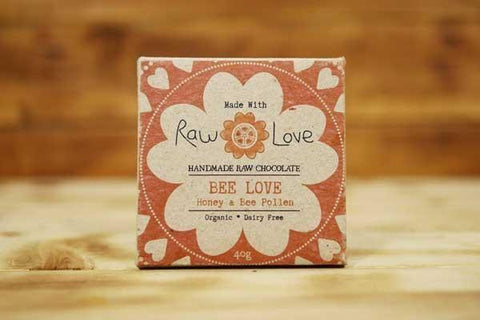 Made with Raw Love Organic Bee Love Raw Chocolate 40g Pantry > Confectionery