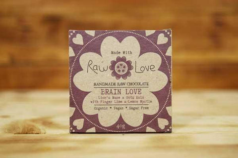 Made with Raw Love Organic Brain Love Raw Chocolate 40g Pantry > Confectionery