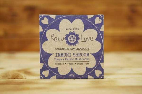Made with Raw Love Organic Immuni Shroom Bar Raw Chocolate 40g Pantry > Confectionery