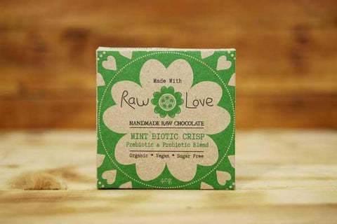 Made with Raw Love Organic Mint Biotic Crisp Raw Chocolate 40g Pantry > Confectionery