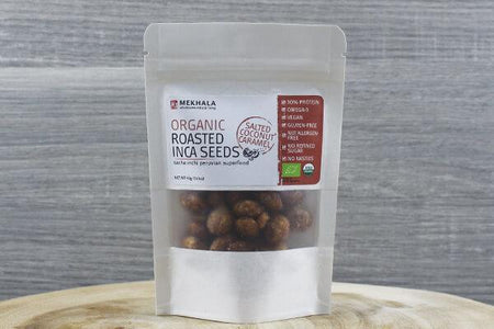 Mekhala Org Roasted Inca Seeds Salted Coconut Caramel 40g Pantry > Grains, Rice & Beans