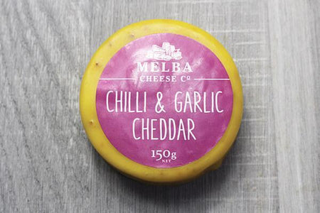 Melba Cheese Co Chilli & Garlic Cheddar 150g Dairy & Eggs > Cheese