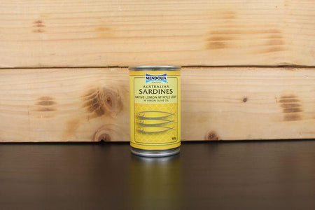 Mendolia Sardines Lemon Myrtle Leaf 155g Pantry > Canned Goods