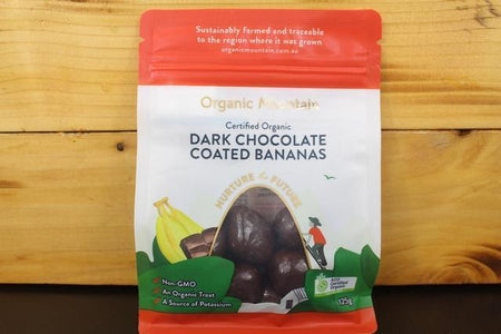 Organic Mountain OM Dark Chocolate Coated Bananas 125g Pantry > Confectionery