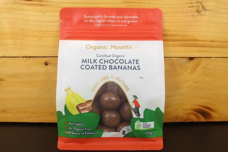 Organic Mountain OM Milk Chocolate Coated Bananas 125g Pantry > Confectionery