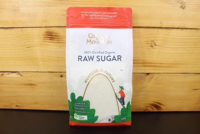 Organic Mountain OM Raw Sugar 500g Pantry > Baking & Cooking Ingredients