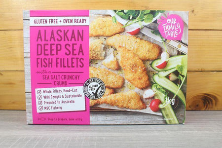 Our Family Table Sea Salt Crunchy Alaskan Deep Sea Fish Fillets 1kg Freezer > Fish
