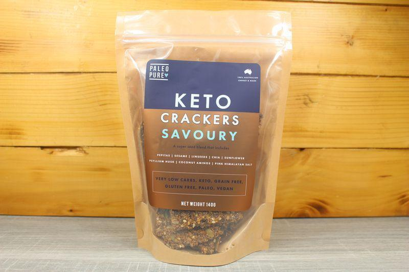 Paleo Pure Keto Crackers Savoury 140g Pantry > Cookies, Biscuits and Sweet Snack