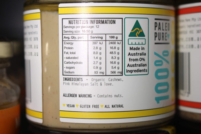 Paleo Pure Organic Nut Butter Cashew 200g Pantry > Nut Butters, Honey & Jam