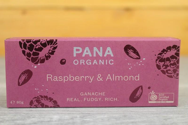 Pana Organic Ganache Raspberry & Almond Chocolate 80g Pantry > Confectionery
