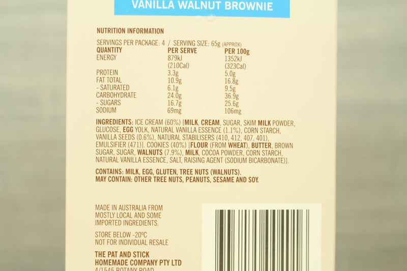 Pat and Stick's Chewy Vanilla Walnut Brownie 4 Packs 480ml Freezer > Ice Cream