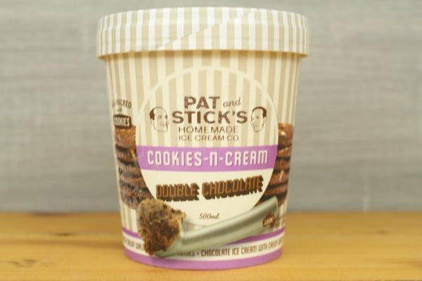 Pat and Stick's Cookies n Cream Double Chocolate 500ml Freezer > Ice Cream