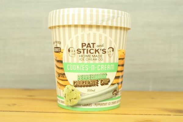 Pat and Stick's Cookies n Cream Peppermint Choc Chip 500ml Freezer > Ice Cream