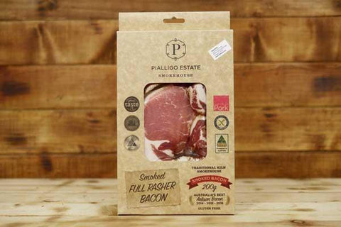 Pialligo Estate Full Rasher of Bacon Dry Cured & Smoked 200g Deli > Charcuterie