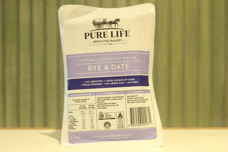 Pure Life Bakery Organic Sprouted Bread Rye & Date 1.1kg Bakery > Bread
