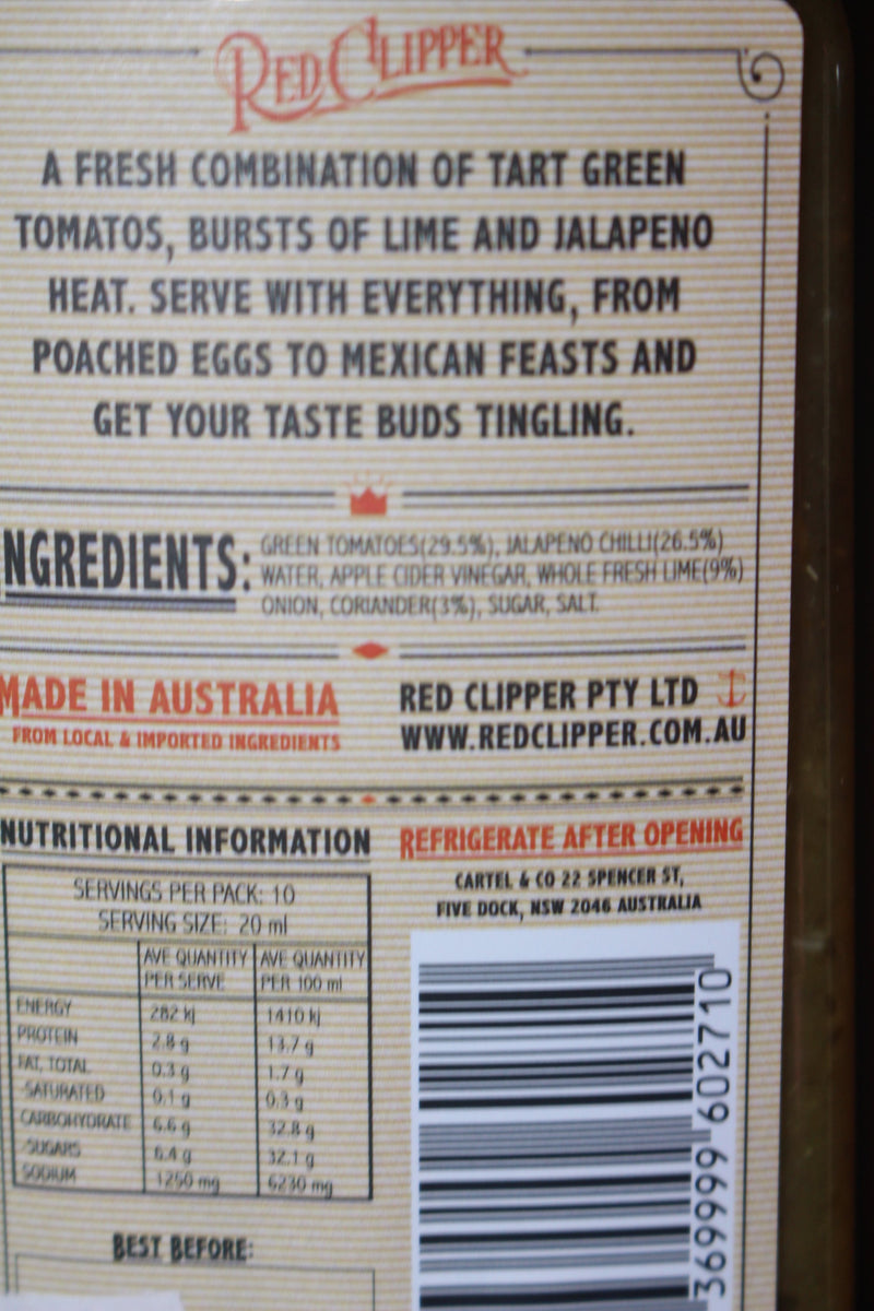 Red Clipper Chilli Co. Jalapeno Green Tomato and Coriander Hot Sauce 200ml Pantry > Condiments