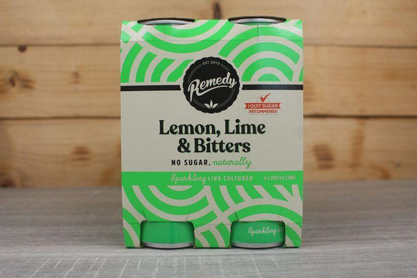 Remedy Kombucha Lemon Lime & Bitters Multipack Live Cultured Soda 4 x 250ml Drinks > Soft Drinks & Mixers