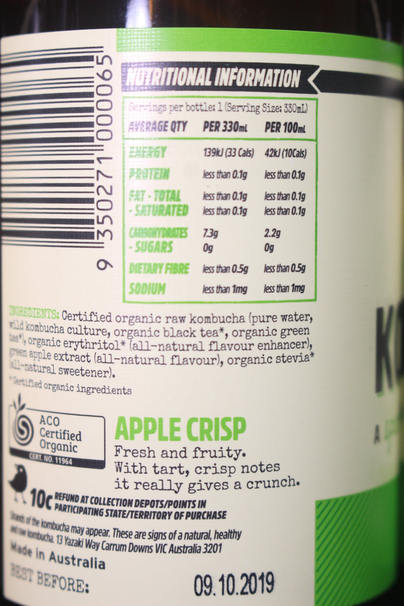 Apple Crisp Organic Kombucha Multipack 4x250ml