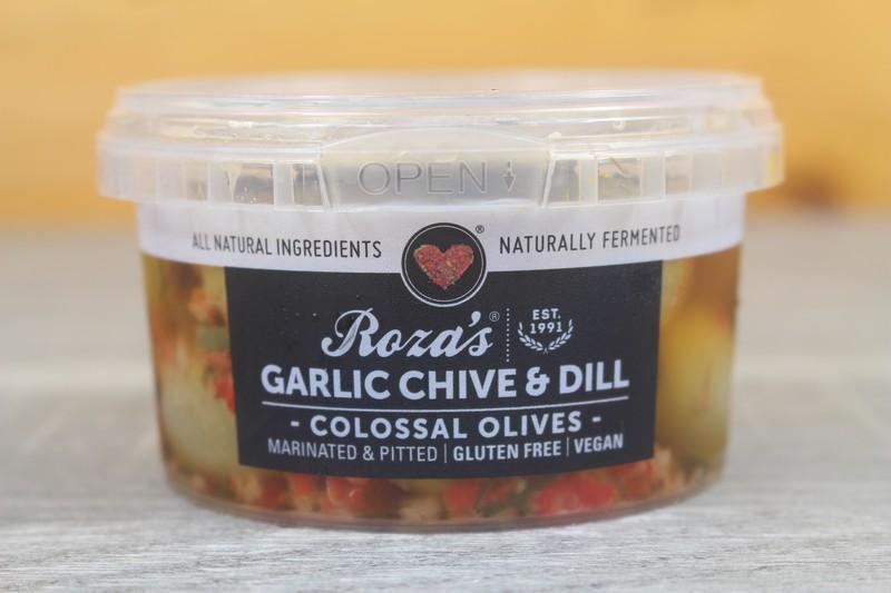 Roza's Gourmet Garlic Chive Olives 200g Pantry > Antipasto, Pickles & Olives