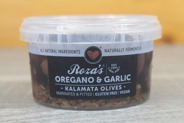 Roza's Gourmet Oregano Garlic Olives 200g Pantry > Antipasto, Pickles & Olives
