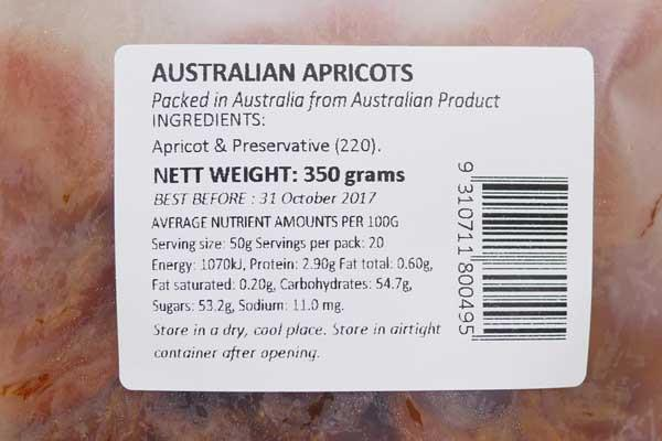 Santos Australian Apricots 350g Pantry > Dried Fruit & Nuts