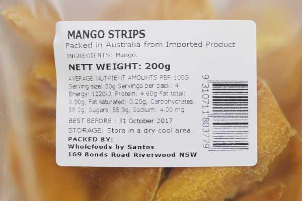 Santos Mango Strips 200g Pantry > Dried Fruit & Nuts