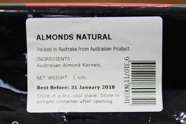 Santos Natural Almonds 1kg Pantry > Dried Fruit & Nuts