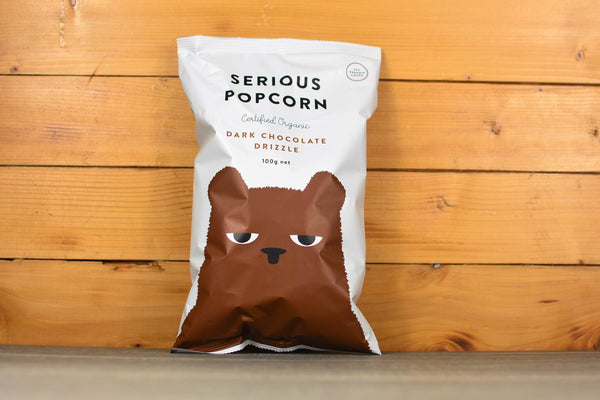 Serious Popcorn Dark Choc Drizzle Popcorn 100g Pantry > Cookies, Biscuits & Sweet Snacks