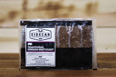 Sidecar Sausages Traditional German Bratwurst Sausage 500g Meat > Sausage