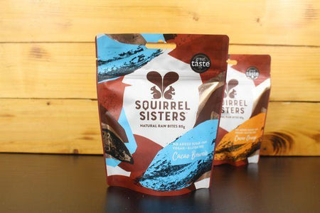 Squirrel Sisters Cacao Brownie Share Bag 80g Pantry > Cookies, Chips & Snacks