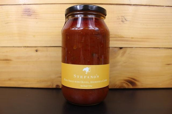 Stefano's Pasta Sauce with olives, chilli, anchovies 530g Pantry > Pasta, Sauces & Noodles