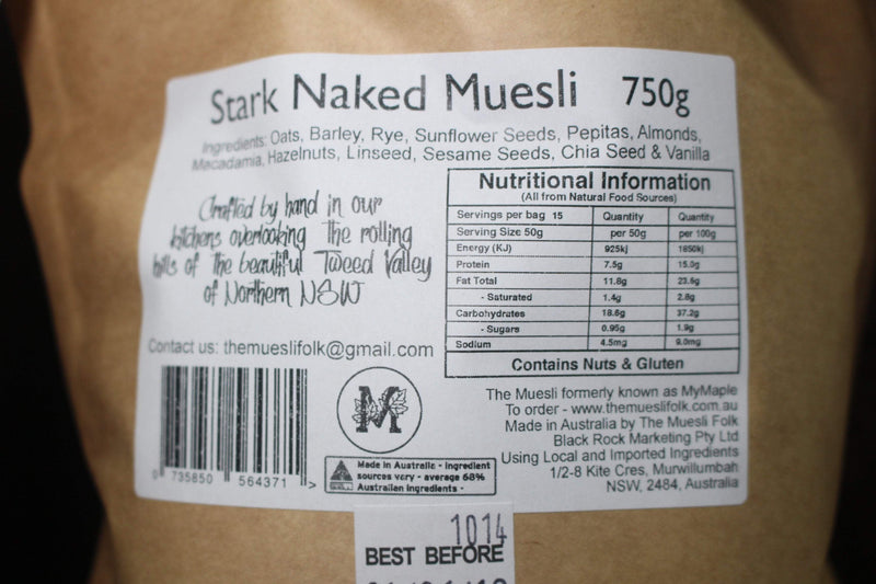 The Muesli Folk Stark Naked Muesli 375g Pantry > Granola, Cereal, Oats & Bars