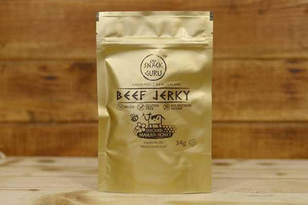 The Snack Guru Beef Jerky Smoked Manuka Honey 34g Pantry > Cookies, Chips & Snacks