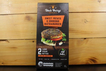Uncle Harry Uncle Harry's Sweet Potato Natraburger 6x120g Freezer > Meat Alternatives
