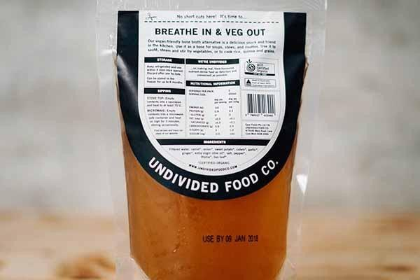 Undivided Food Co Organic No Bones Vegetable Broth 500ml Pantry > Broths, Soups & Stocks