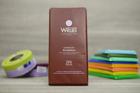 Weiss Dark Chocolate & Crunchy Cocoa Bean Nibs Bar 100g Pantry > Confectionery