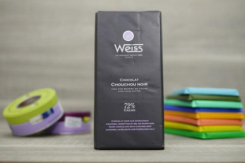 Weiss Dark Chocolate with Caramelised Almonds, Hazelnuts and Guerand Salt Bar 100g Pantry > Confectionery