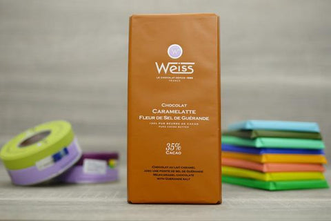 Weiss Milk-Caramel Chocolate with Guerande Salt Bar 100g Pantry > Confectionery