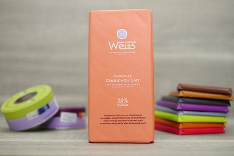 Weiss Milk Chocolate with Caramelised Almonds, Hazelnuts and Guerande Salt Bar 100g Pantry > Confectionery