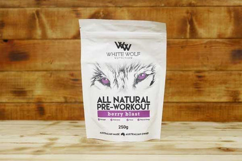 White Wolf Nutrition Berry Blast All Natural Pre-Workout 250g Pantry > Protein Powders & Supplements