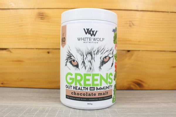 White Wolf Nutrition Chocolate Malt Greens Gut Health & Immunity 300g Pantry > Protein Powders & Supplements