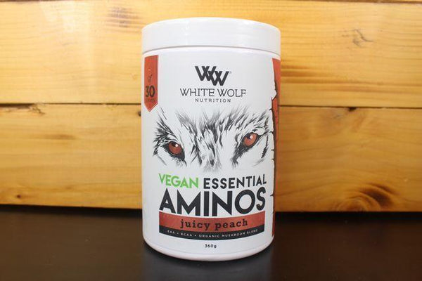 White Wolf Nutrition Juicy Peach Vegan Ess Amino 360g Pantry > Protein Powders & Supplements