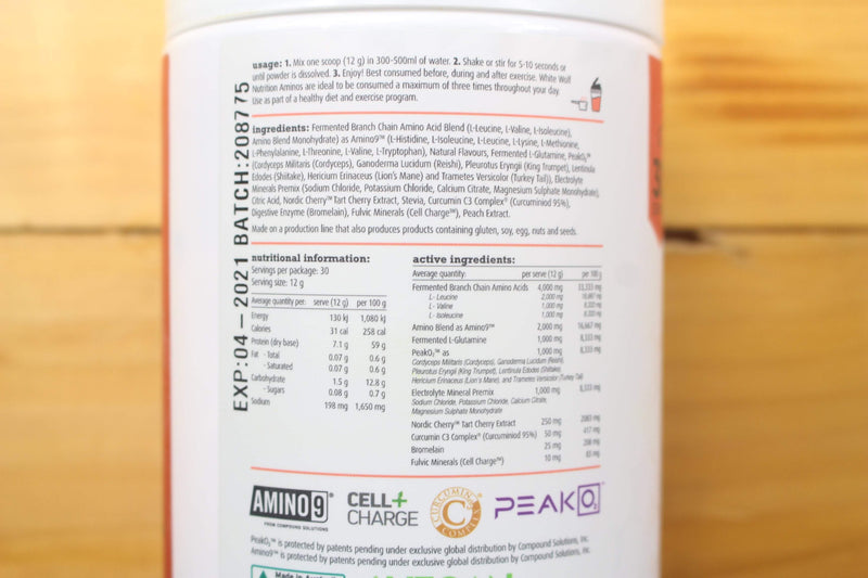 White Wolf Nutrition Juicy Peach Vegan Essential Amino 360g Pantry > Protein Powders & Supplements