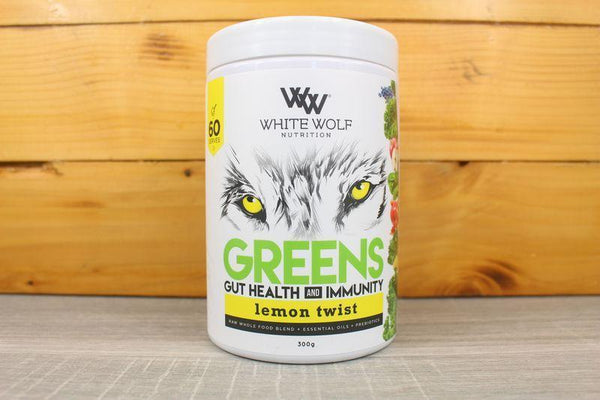White Wolf Nutrition Lemon Twist Greens Gut Health & Immunity 300g Pantry > Protein Powders & Supplements